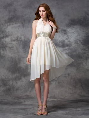 A-Line/Princess Halter Chiffon Sleeveless Sequin Asymmetrical Dresses