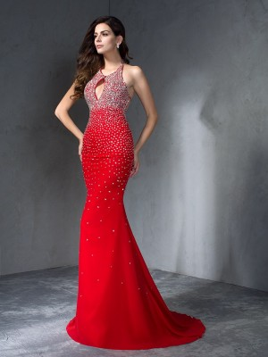 Trumpet/Mermaid Chiffon Halter Sleeveless Beading Sweep/Brush Train Dresses
