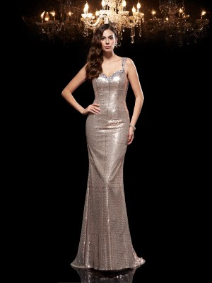 Sheath/Column Sequins Straps Sleeveless Beading Sweep/Brush Train Dresses