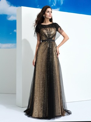 A-Line/Princess Sheer Neck Net Paillette Short Sleeves Floor-Length Dresses
