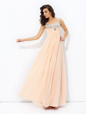 A-Line/Princess Chiffon Beading Spaghetti Straps Sleeveless Floor-Length Dresses