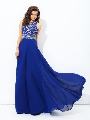 A-Line/Princess Scoop Chiffon Beading Sleeveless Floor-Length Dresses