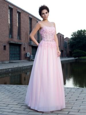 A-Line/Princess Net Applique Straps Sleeveless Floor-Length Dresses