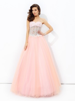 A-Line/Princess Sweetheart Net Lace Sleeveless Floor-Length Dresses