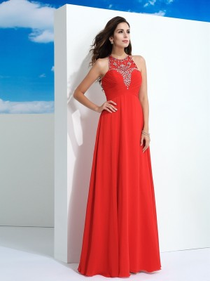 A-Line/Princess Chiffon Beading Sheer Neck Floor-Length Sleeveless Dresses
