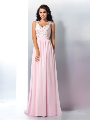 A-Line/Princess Chiffon V-neck Applique Sweep/Brush Train Sleeveless Dresses