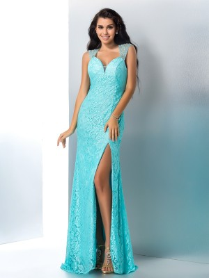 Trumpet/Mermaid Lace Beading Sweetheart Sleeveless Floor-Length Dresses