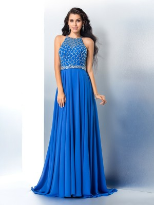 A-Line/Princess Beading Scoop Sleeveless Chiffon Sweep/Brush Train Dresses
