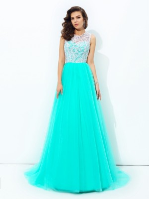 A-Line/Princess Scoop Net Sleeveless Sweep/Brush Train Lace Dresses