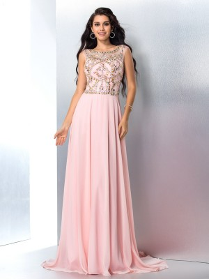 A-Line/Princess Scoop Beading Sleeveless Chiffon Sweep/Brush Train Dresses