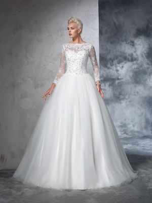 Ball Gown Bateau Net Long Sleeves Lace Sweep/Brush Train Wedding Dresses