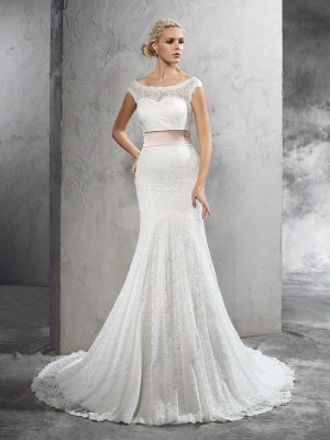 Sheath/Column Lace Sash/Ribbon/Belt Sheer Neck Sleeveless Court Train Wedding Dresses