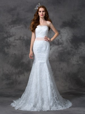 Trumpet/Mermaid Strapless Lace Sash/Ribbon/Belt Court Train Sleeveless Wedding Dresses