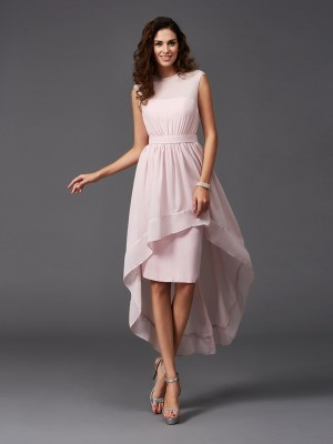 A-Line/Princess Scoop Sleeveless Sash/Ribbon/Belt Chiffon Asymmetrical Bridesmaid Dresses
