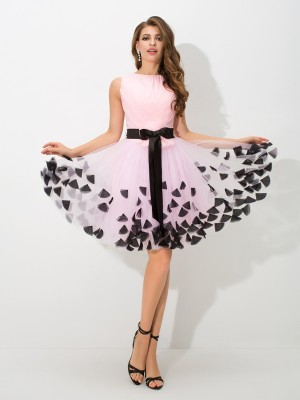 A-Line/Princess Net High Neck Sleeveless Bowknot Short/Mini Dresses