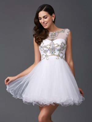 A-Line/Princess Net Beading Scoop Sleeveless Short/Mini Dresses