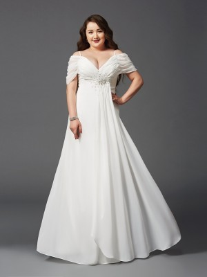 A-Line/Princess Chiffon Short Sleeves Ruched Floor-Length Dresses