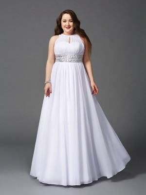 A-Line/Princess Chiffon Sleeveless Beading Floor-Length Dresses