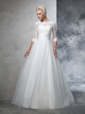 Ball Gown Organza 3/4 Sleeves Applique Floor-Length Wedding Dresses