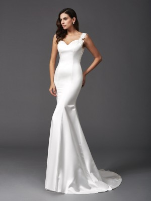 Trumpet/Mermaid Satin Sleeveless Beading Sweep/Brush Train Wedding Dresses