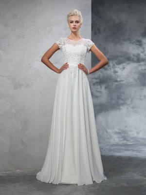 A-Line/Princess Applique Chiffon Sweep/Brush Train Short Sleeves Wedding Dresses