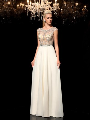 A-Line/Princess Chiffon Rhinestone Sleeveless Floor-Length Dresses