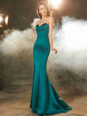 Trumpet/Mermaid Satin Ruched Sleeveless Sweep/Brush Train Dresses