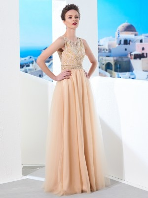 A-Line/Princess Tulle Beading Sleeveless Floor-Length Dresses