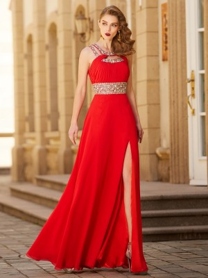 A-Line/Princess Beading Sleeveless Chiffon Floor-Length Dresses