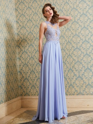 A-Line/Princess Chiffon Sleeveless Floor-Length Applique Dresses