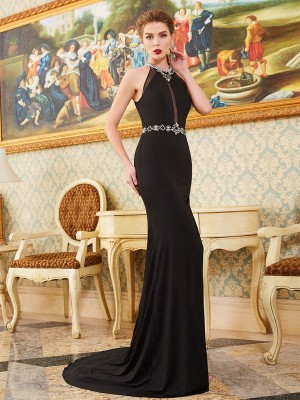 Sheath/Column Spandex Beading Sleeveless Dresses
