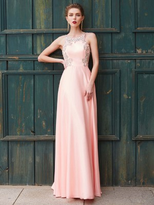 A-Line/Princess Satin Beading Floor-Length Sleeveless Dresses