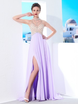 A-Line/Princess Chiffon Sleeveless Crystal Dresses