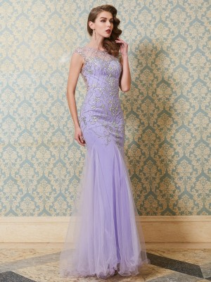 Trumpet/Mermaid Tulle Sleeveless Floor-Length Beading Dresses
