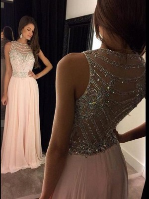 A-Line/Princess Chiffon Sleeveless Crystal Sweep/Brush Train Dresses