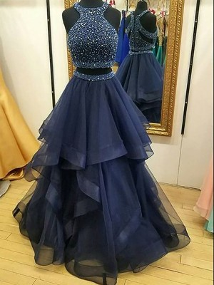 A-Line/Princess Halter Organza Sleeveless Beading Floor-Length Two Piece Dresses