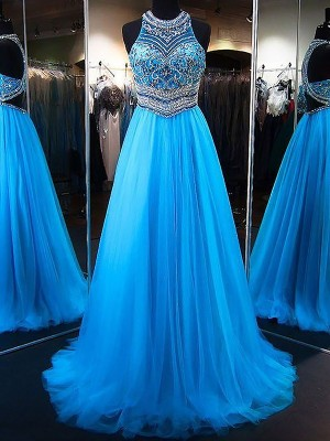 A-Line/Princess Tulle Jewel Sleeveless Sweep/Brush Train Beading Dresses