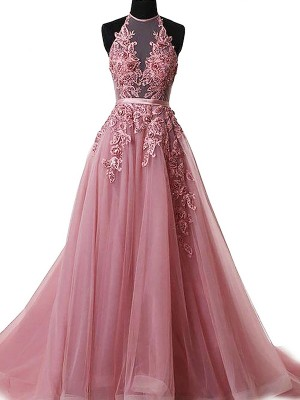 A-Line/Princess Tulle Halter Applique Sleeveless Sweep/Brush Train Dresses