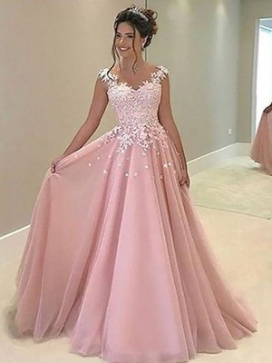 A-Line/Princess Sweetheart Tulle Sleeveless Floor-Length Applique Dresses