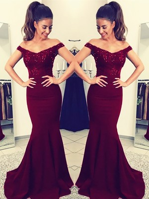 Trumpet/Mermaid Off-the-Shoulder Lace Satin Sweep Train Sleeveless Dresses