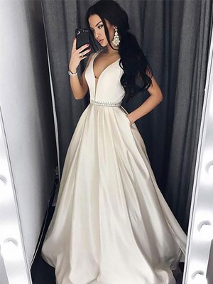A-Line/Princess V-neck Beading Sleeveless Sweep train Satin Dresses