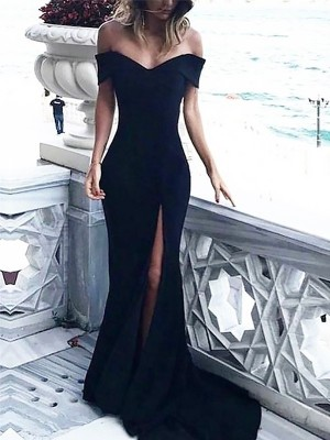 Sheath Off-the-Shoulder Sleeveless Court With Ruched Spandex Dresses