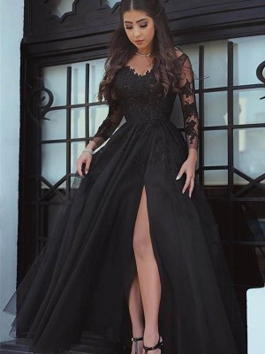 Ball Gown Long Sleeves Off-the-Shoulder Floor Length Lace Applique Dresses