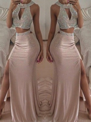 Trumpet/Mermaid Sleeveless Halter Floor-Length Beading Chiffon Two Piece Dresses
