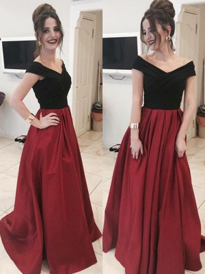 A-Line/Princess Sleeveless Off-the-Shoulder Sweep Train Ruffles Satin Dresses