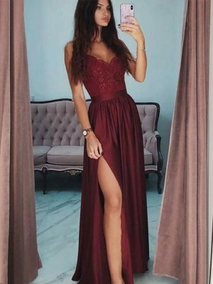 A-Line/Princess V-neck Sleeveless Floor-Length Lace Satin Dresses