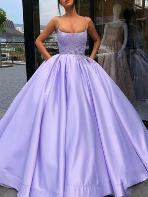 Ball Gown Satin Applique Spaghetti Straps Sleeveless Floor-Length Dresses