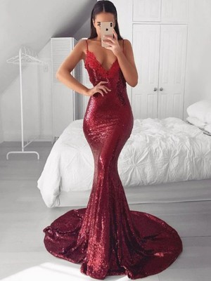 Trumpet/Mermaid V-neck Sequins Applique Sweep/Brush Train Sleeveless Dresses