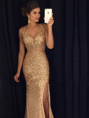 Sheath/Column Jersey Sleeveless Court Train Sequin Dresses