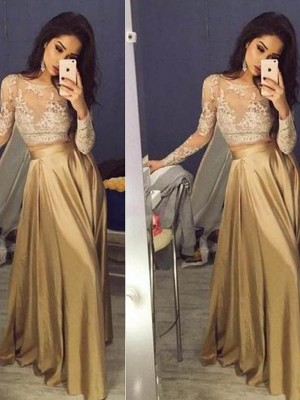 A-Line/Princess Satin Long Sleeves Floor-Length Applique Dresses